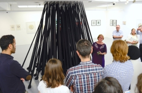 "Judy-Ann Moule presenting her installation titled ""Finding Oneself Lost"""