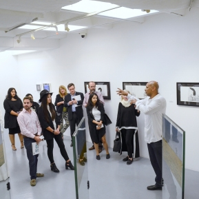 Antonio Da Silva presenting the artworks of two other Brazilians, the brilliant Katia Salvany's unique gumprints and Rommulo Vieira Conceicao's landscape photo installation