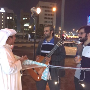 My father, Fahad Alnashmi, expressing his appreciation to the Kuwaiti Latin quartet, Alhassan Brothers