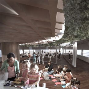 Interior Render of childrens workshop, dance studio, restaurant and pathway with spanish moss and daylight above it